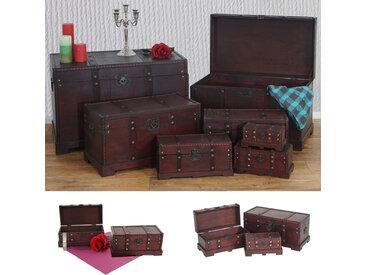 7er Set Holztruhe Holzbox Schatztruhe Valence Antikoptik 10x21x10 bis 49x77x47cm