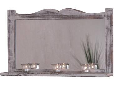 Wandspiegel H75, Spiegel, Shabby-Look Vintage, 35x58x12cm ~ weiß