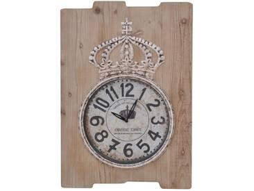 Wanduhr H07, Uhr Wanddekoration, Shabby-Look Vintage, 69x48x5cm ~ naturbraun