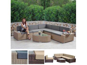Poly-Rattan-Garnitur Sora, Gartengarnitur Sitzgruppe Lounge-Set, Alu