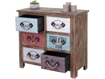 Kommode HWC-C59, Sideboard Schubladenschrank Schubladenkommode, Shabby-Look Vintage 6 Schubladen 80x84x40cm