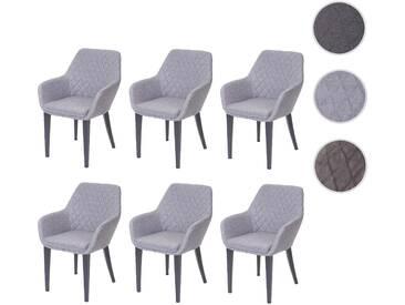 6x Esszimmerstuhl HWC-D35, Stuhl Lehnstuhl, Stoff/Textil Retro