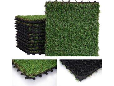 Grasfliese HWC-E13, Rasenfliese Grasmatte Kunstrasen, Balkon/Terrasse 11x je 30x30cm = 1qm
