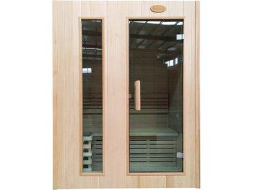 Sauna HWC-D58, Saunakabine Wärmekabine, Saunaofen 2,3kW Saunasteine Sicherheitsglas 2 Personen 190x150x105cm