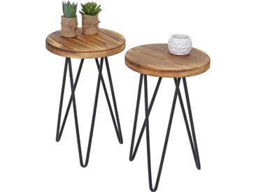 2x Blumentisch HWC-A81, Blumenhocker Holztisch Pflanzentisch, Industriedesign Echtholz