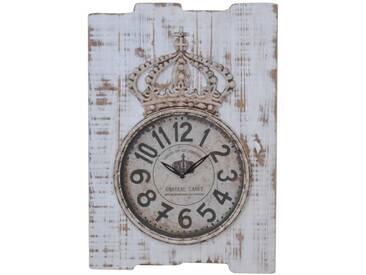 Wanduhr H07, Uhr Wanddekoration, Shabby-Look Vintage, 69x48x5cm ~ weiß