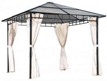 "Pavillon ""Bright II"" anthrazit grau braun natur Polyester 360x300x270cm Sonnendach Partyzelt Gartenavillon Gartendach Partypavillon Grillpavillon"