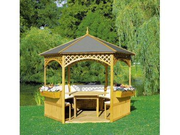 "Pavillon ""Marion II"", Holz/Dachpappe, 278x278cm, mit Möbeln, Gartenpavillon, Pavillonset, Garten, Gartendeko, Gartenmöbel, Gartenausstattung"