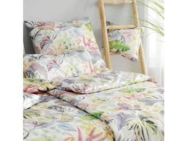 elegante Mako-Satin Bettwäsche Tropic weiß
