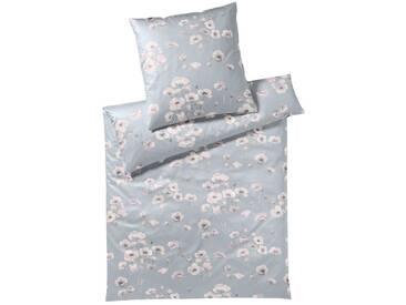 elegante Jersey Bettwäsche Blütenmeer silber