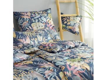 elegante Mako-Satin Bettwäsche Tropic nachtblau