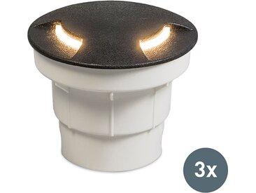 Modern 3er Set Bodenstrahler schwarz inkl. LED IP67 - Ceci 2 GX53