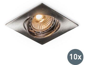 Modern Einbaustrahler Edu schwenkbar stahl viereckig - Set aus 10