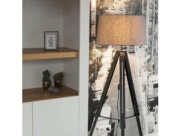 Design,Industrie,Retro Stehleuchte Tripod schwarz mit Schirm 45cm