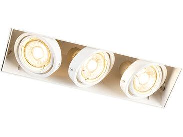 Design,Modern Design rechteckiger Einbauspot weiß 3-Flammig GU10