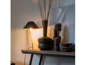 Art Deco Art Deco Tischlampe schwarz mit goldenem Interieur -