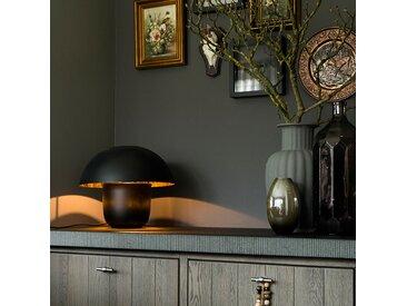 Modern,Design Moderne runde Tischlampe 40cm schwarz mit goldenem