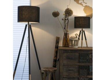 Modern Set aus schwarzer Tischleuchte und Stehleuchte mit Schirm