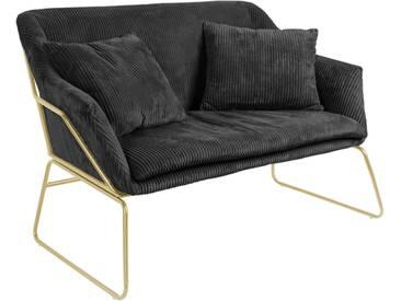 Leitmotiv Glam Sofa mit Cordbezug 151cm, schwarz/ gold