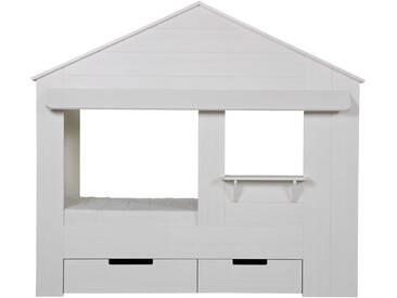 Woood Huisie Kinderbett in Hausform mit Fenster und Schubladen, weiß - weiß