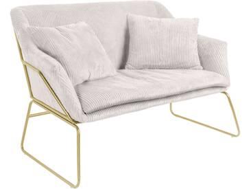 Leitmotiv Glam Sofa mit Cordbezug 151cm, weiß / gold