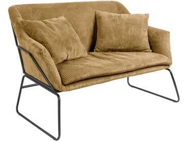 Leitmotiv Glam Sofa mit Cordbezug 151cm, braun / schwarz