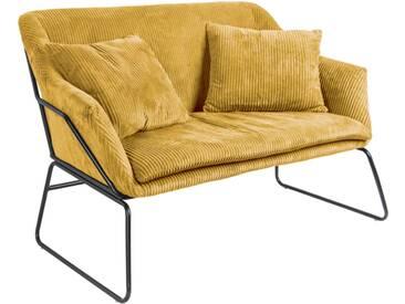 Leitmotiv Glam Sofa mit Cordbezug 151cm, gelb / schwarz