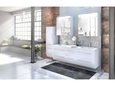 Badmöbelset 4tlg ZESIRO   Hochglanz Weiß 150 Cm Doppelwaschplatz