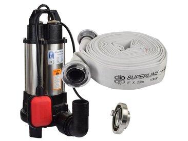 Agora-Tec® Bau-, Abwasser- und Schmutzwasserpumpe C 750W (mit Schneidwerk) mit 20 Meter C-Schlauch und STORZ Kupplung