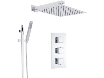 Duschsystem Kubix inkl Kopfbrause, Handbrause mit Stange & Thermostat Duscharmatur