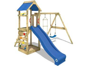 Spielturm FreeFlyer Klettergerüst mit Schaukel, Sandkasten, Kletterwand, blauer Dachplane und blauer Rutsche