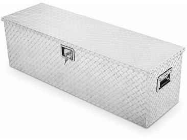 COSTWAY Alubox fuer LKW Werkzeugbox 123x38x38cm Werkzeugkiste Aufbewahrungsbox alu,mit Griffen, Transportbox abschliessbar, Alukoffer