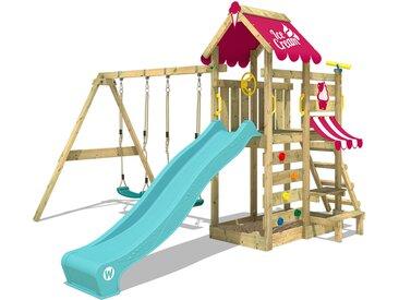 Spielturm VanillaFlyer mit Schaukel, Picknicktisch, Sandkasten und Rutsche - türkise Rutsche - pinke Plane