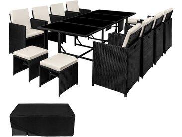 Rattan Sitzgruppe Palma 8+4+1 mit Schutzhülle, Variante 2 - Gartenlounge, Terrassenmöbel, Rattan Lounge - schwarz