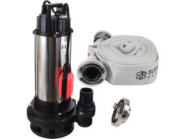 Agora-Tec® Bau-, Abwasser- und Schmutzwasserpumpe 1500W mit 10 Meter C-Schlauch und STORZ Kupplung