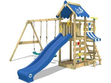 Spielturm VanillaFlyer mit Schaukel, Picknicktisch, Sandkasten und Rutsche – blau