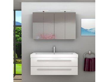 Badmöbel Set City 101 V1 Hochglanz Weiß, Badezimmermöbel, Waschtisch 120cm -16474- ohne Spiegelschrankbeleuchtung