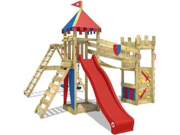 Spielturm Smart Legend 150 Ritterburg Klettergerüst Spielplatz mit Doppelschaukel, Sandkasten, Wackelbrücke, roter Rutsche und rot-blauer Plane