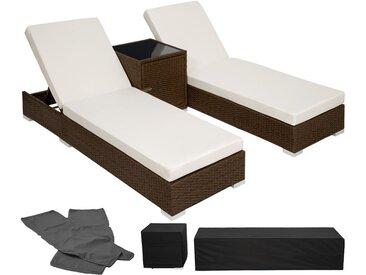 2 Sonnenliegen Rattan mit Aluminiumgestell und Tisch inkl. Schutzhülle - Gartenliege, Liegestuhl, Relaxliege - antikbraun