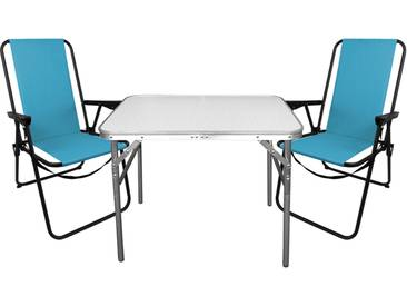 3tlg. Campingmöbel Set Aluminium Klapptisch 75x55cm + 2x Campingstühle Blau, klappbar inkl. Schultergurt, Gartenmöbel Campinggarnitur