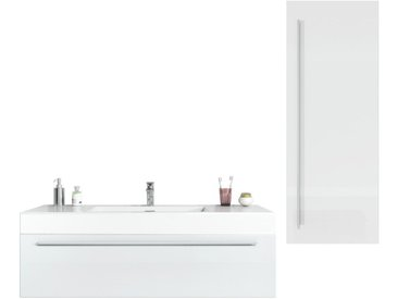 Badezimmer Badmöbel Set Garcia 120cm Hochglanz weiß - Unterschrank Hochschrank Waschbecken Waschtisch
