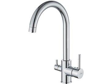 Auralum 3 Wege Wasserfilter Küche Wasserhahn Trinkwasserhahn Küche Armatur für Filtersystem Wasserkran Spültischarmatur Chrom