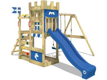 Spielturm RoyalFlyer Ritterburg Klettergerüst mit Doppelschaukel, Sandkasten, Kletterleiter, blauer Rutsche und blauer Plane