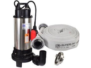 Agora-Tec® Bau-, Abwasser- und Schmutzwasserpumpe C 1300W (mit Schneidwerk) mit 20 Meter C-Schlauch und STORZ Kupplung