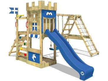 Spielturm DragonFlyer Klettergerüst Ritterburg mit Kletteranbau, Doppelschaukel, Sandkasten, Kletterwand, Hühnerleiter, blauer Rutsche und blauer Plane
