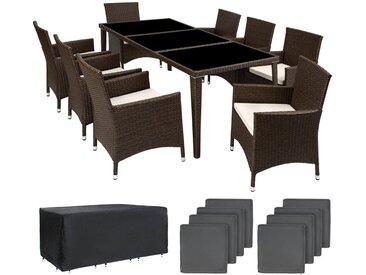 Aluminium Rattan Sitzgruppe Monaco 8+1 mit Schutzhülle - Gartenlounge, Terrassenmöbel, Rattan Lounge - antikbraun