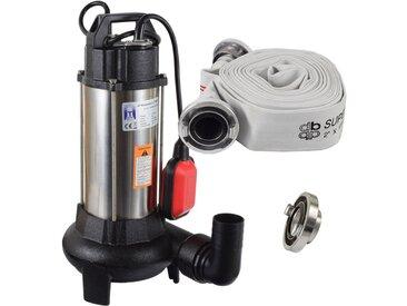 Agora-Tec® Bau-, Abwasser- und Schmutzwasserpumpe C 1100W (mit Schneidwerk) mit 10 Meter C-Schlauch und STORZ Kupplung