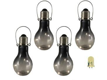 Luxform Garten LED Deko Lichter 4 Stück Rauchglas 95433