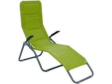 XXL Bäderliege Deluxe extra hoch Sitzhöhe ca. 43 cm Sonnenliege Gartenliege Liege Aluminium Schwingliege Saunaliege Textilene grün