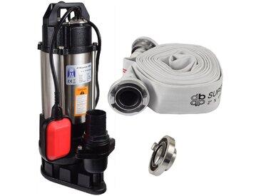Agora-Tec® Bau-, Abwasser- und Schmutzwasserpumpe 550W mit 10 Meter C-Schlauch und STORZ Kupplung